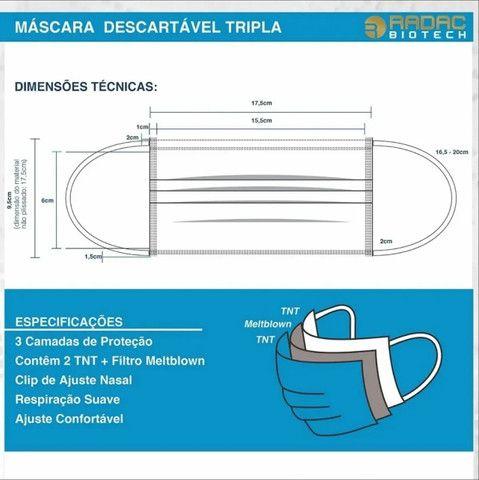 Kit 50 Máscaras De Proteção Descartável Hospitalar 3 Camadas - Foto 3