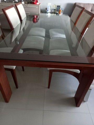 Mesa com cadeiras de 6 lugares tampo de vidro - Foto 5