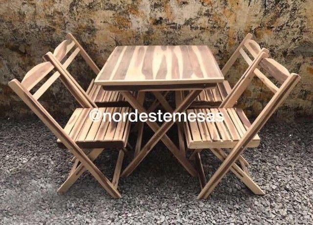Mesa cadeira de madeira - Foto 2
