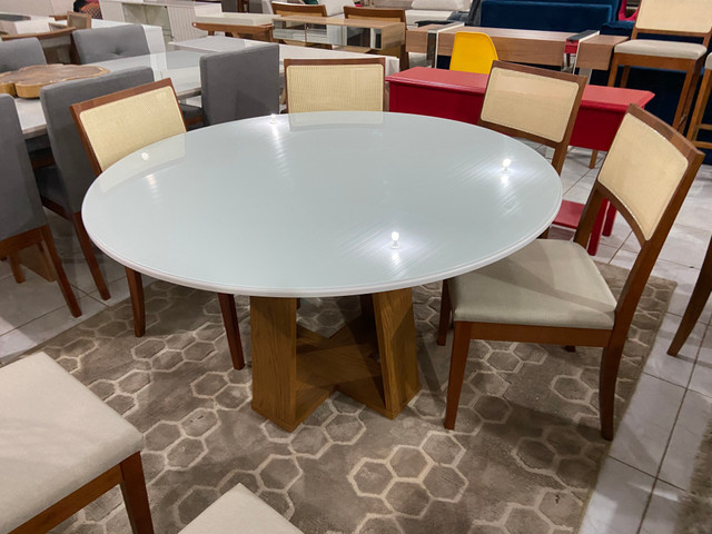 Mesa redonda de jantar de 6 lugares completa - Foto 3