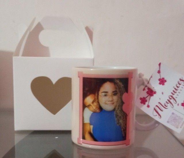 Caneca de cerâmica + Caixinha de coração  - Foto 4