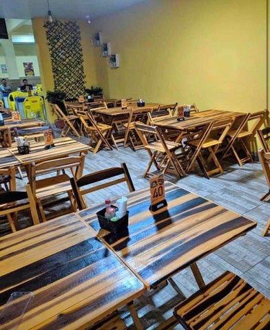Mesa cadeira de madeira - Foto 6