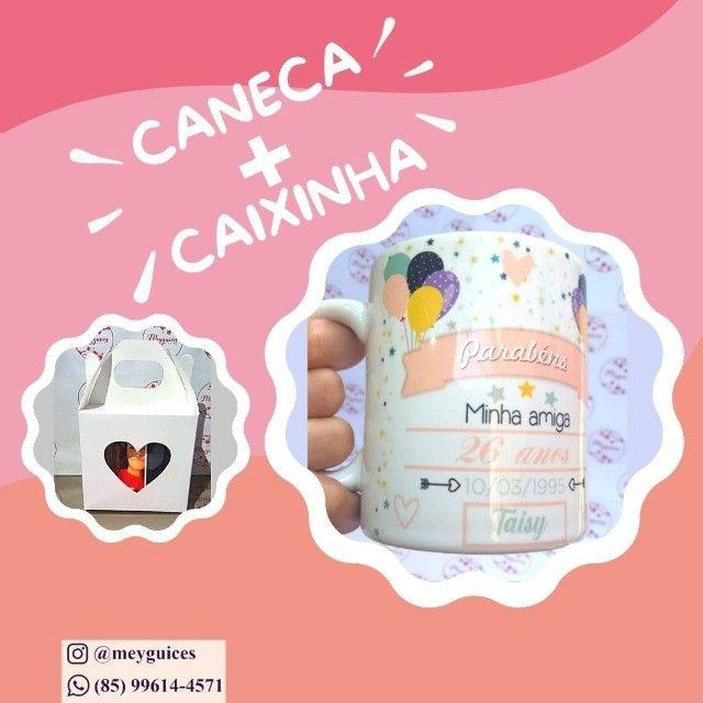 Caneca de cerâmica + Caixinha de coração