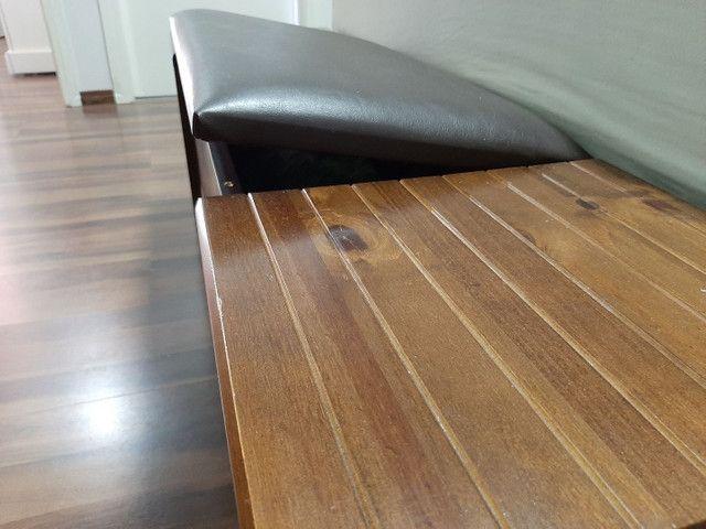 Recamier baú em madeira com couro sintético  - Foto 3