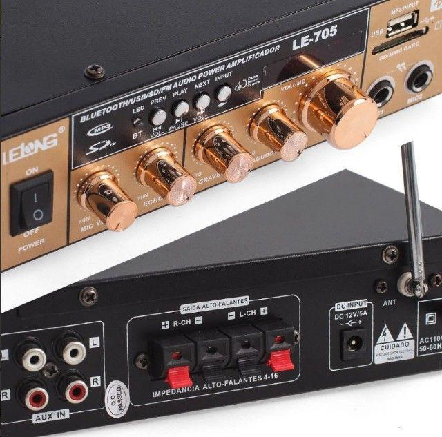 Amplificador Módulo Receiver Bluetooth 2 Canais Karaôke Usb LE-705 - Foto 4
