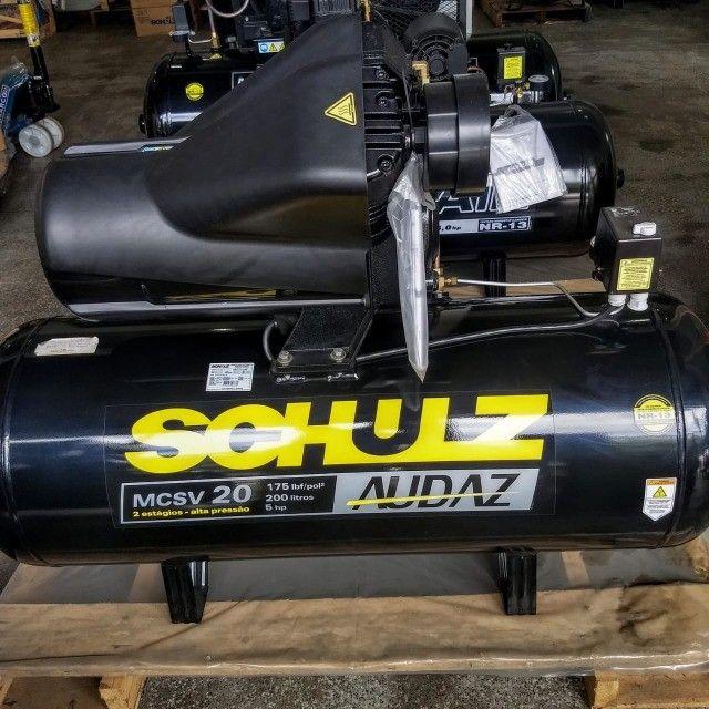Compressor De Ar Schulz Audaz MCSV 20 Pés 200 Litros 5CV - Trifásico 220/380V - Foto 6