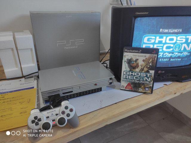 PS2 FAT cinza JP na caixa