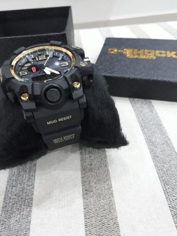 cdfc579f9bf 2 Casio G shock mudmaster preto com dourado - Bijouterias