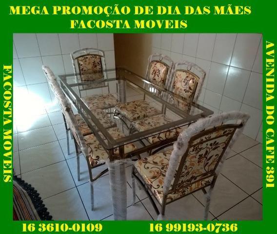 Mesa de jantar com 6 cadeira fabrica facosta moveis somente 10 x 168,00