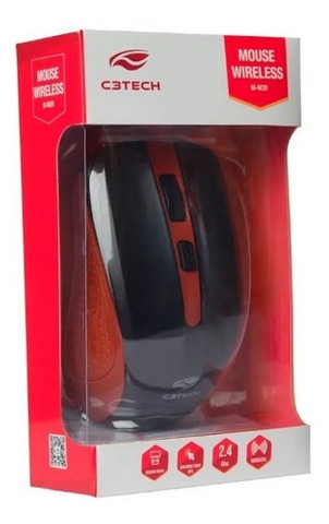 Mouse C3 Tech Sem Fio Usb Vermelho - M-w20rd - Foto 3