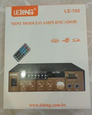 Amplificador Módulo Receiver Bluetooth 2 Canais Karaôke Usb LE-705 - Foto 2