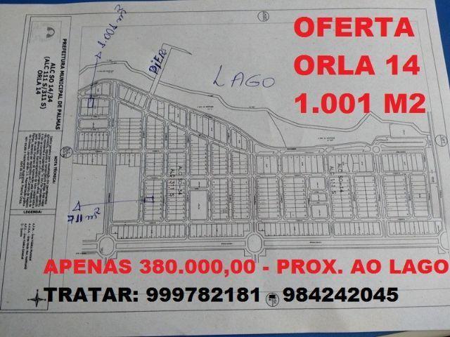 Lote Orla 14 próximo ao lago - 1.001 m2 - apenas 380.000,00