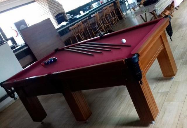 Mesa de Snooker Pró Oficia 2,42 x 1,42 Madeira Maciça - Foto 2