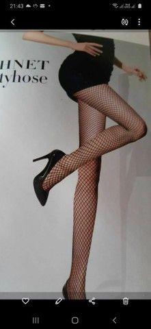 Meia calça arrastão preta tam unico
