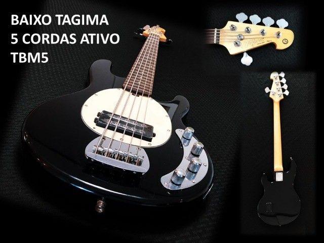 Baixo Tagima TBM5 muito bom. Cordas novas, regulado por luthier e garantia 30 dias.