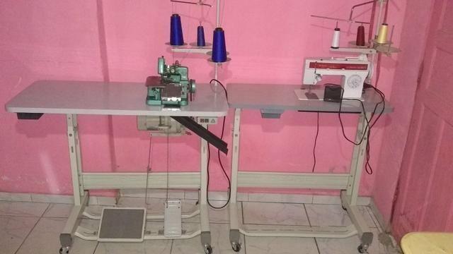 Máquina de costura semi industrial ovelock e reta Zig zag 38 costuras - Foto 2