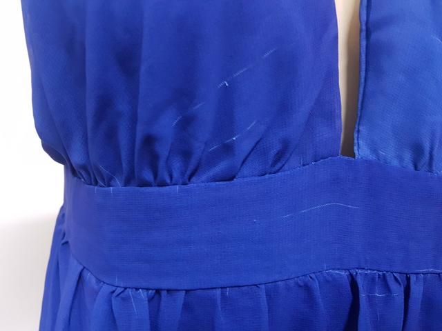 Vestido Longo Em Chiffon Degrade Azul Frente única G Ver Medidas Usado