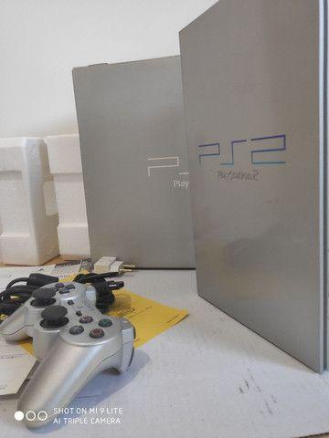PS2 FAT cinza JP na caixa - Foto 4