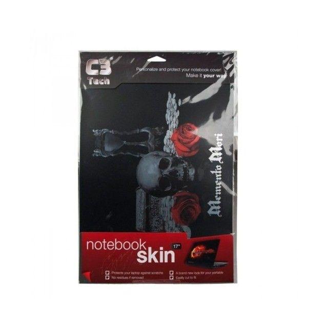 Skin Adesivo Vinil Para Notebook 17 Caveiras Com Rosas - Foto 2