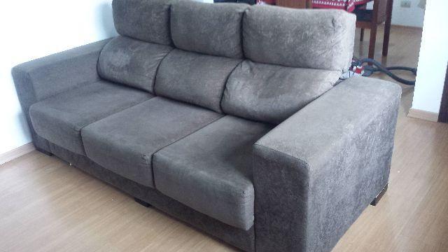 Sofá reclinável 3 lugares com chaise longue em ótimo estado