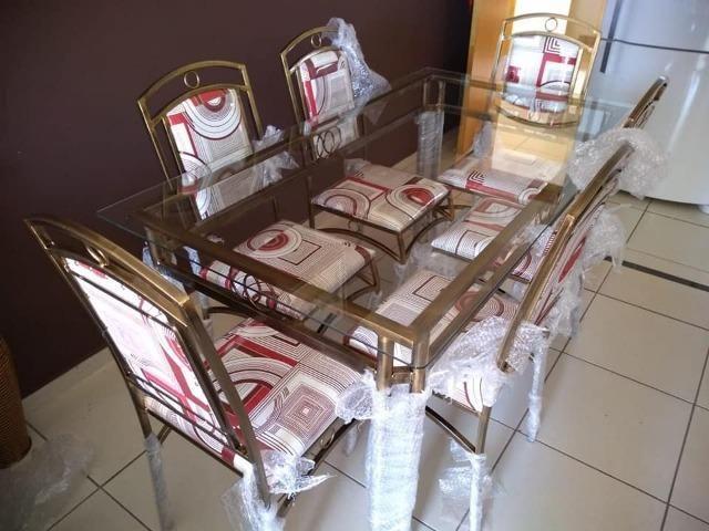 Mesa de jantar com 6 cadeira fabrica facosta moveis somente 10 x 168,00 - Foto 3