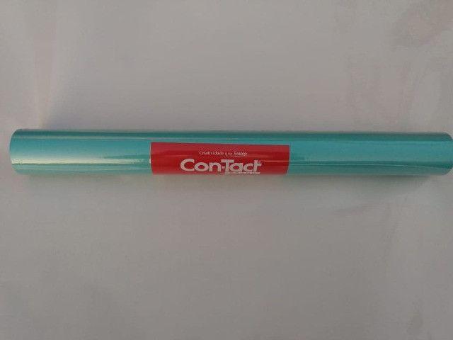 Papel Contact Pvc Opaco Azul Tiffany 45 Cm X 10 Metros - Foto 2