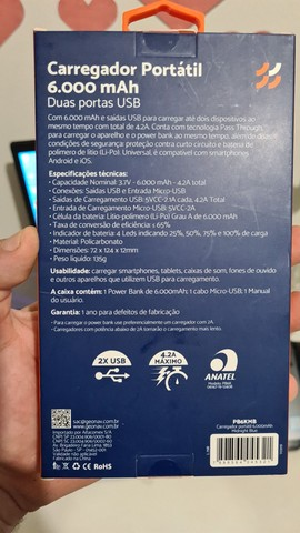 Bateria Externa Geonav Original 6000mhap - Foto 3