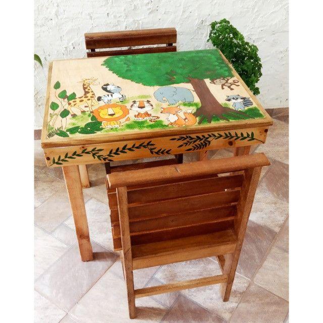 Mesinha infantil de madeira - Foto 6