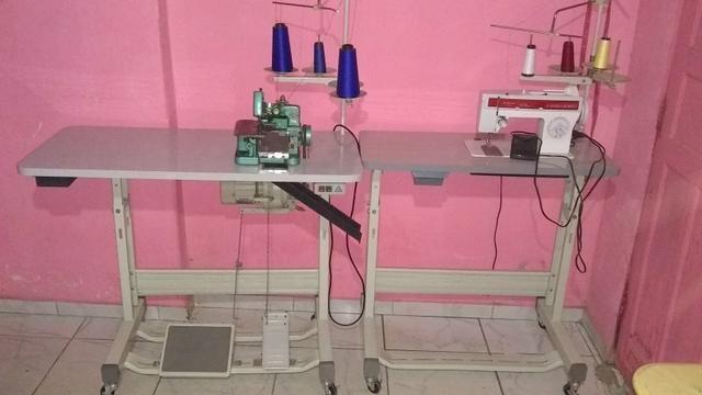 Máquina de costura semi industrial ovelock e reta Zig zag 38 costuras - Foto 5