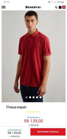 Camisa Polo Reserva (Tam. GG, mas serve G) (Modelagem Slim) - Foto 3