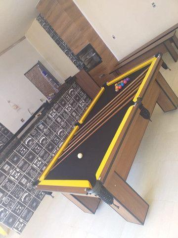 Mesa de Bilhar Charme Imbuia Tecido Preto Modelo GTR1245 - Foto 5