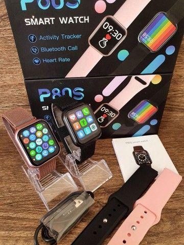 Smartwatch P80S com 02 Pulseiras, Foto na Tela, Faz e recebe ligações  - Foto 2