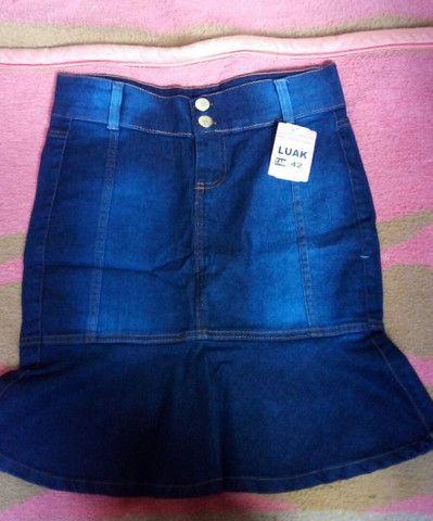 Saia jeans secretaria moda evangélica