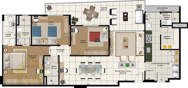 Apartamento à venda com 3 dormitórios em Barro vermelho, Vitória cod:3840 - Foto 10