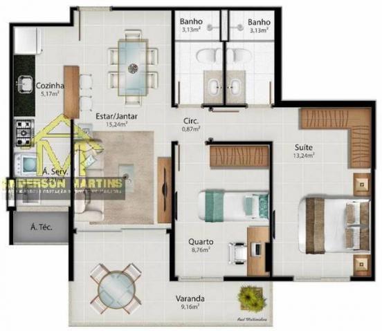 Apartamento à venda com 2 dormitórios em Jardim camburi, Vitória cod:8628 - Foto 19