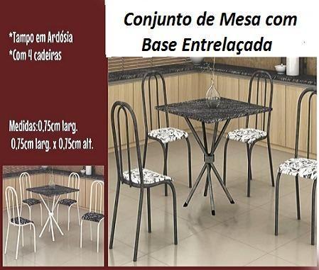 Lind Conjunto de Mesa 4 Cadeiras Com Base Entrelaçada Nova na Caixa Apenas 549,00