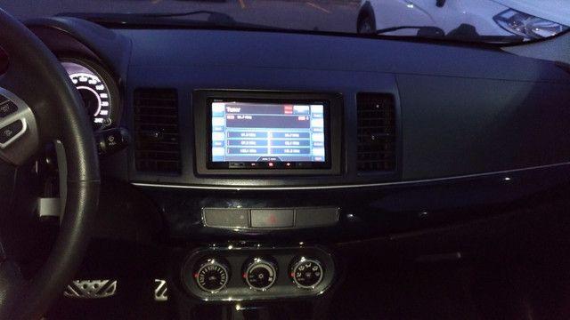Lancer GT 2.0 2012 Preto Couro CVT 160CV cam ré teto 9 airbags ABS pneus novos - Foto 7