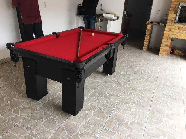 Mesa de Bilhar Charme Preta Tx Tecido Vermelho Modelo LLK6415 - Foto 5