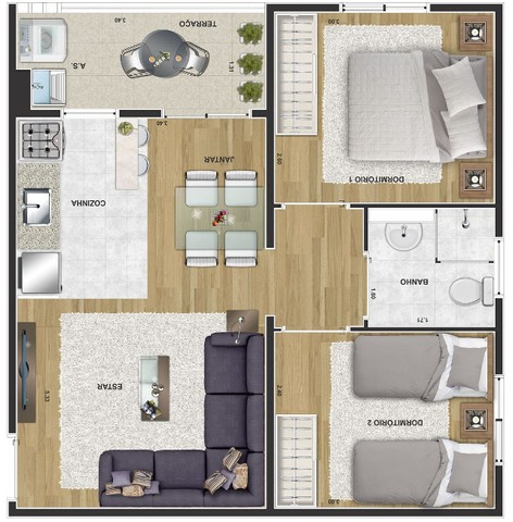 Apartamentos de 2 dormitórios Próximo ao Parque das Águas #ro10 - Foto 5