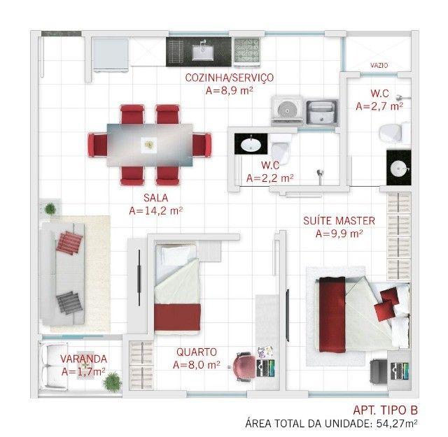 GÊ Apartamento, bairro Jangurussu, 2 dormitórios, 2 banheiros, 1 vaga. - Foto 12
