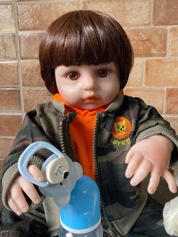 Bebê Reborn Menino Todo em Silicone realista Novo Original (aceito cartão ) - Foto 4