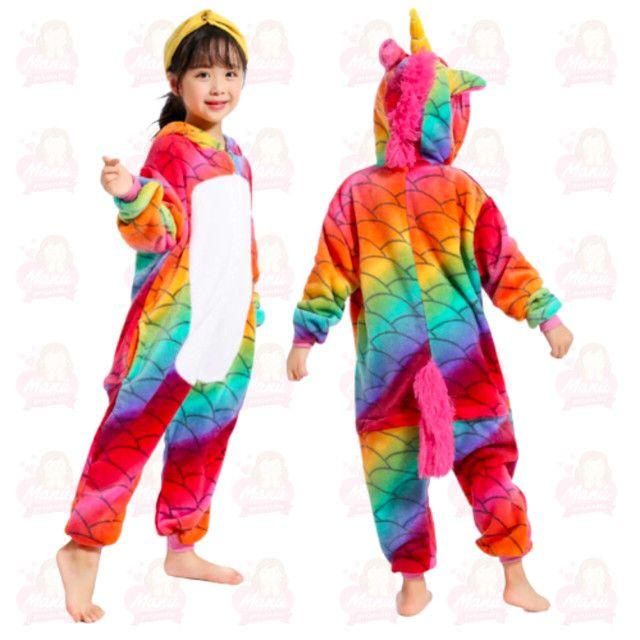 Pijama pelúcia unicórnio serrais infantil
