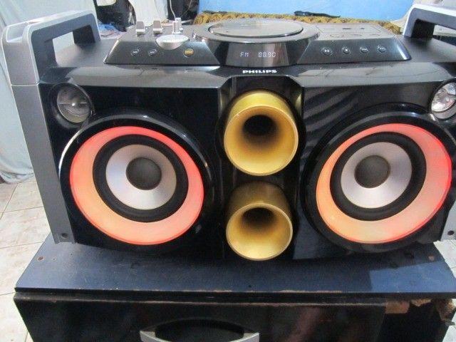 Mini System Philips Party Box usb aux 2 microfone bluetooth