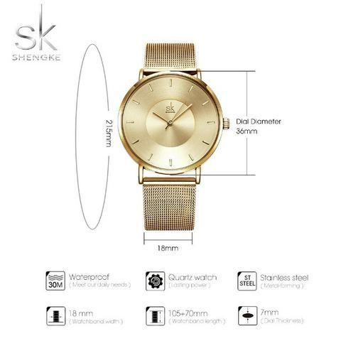 c538b7bedc9 Relogio Feminino Sk Shengke Luxo Dourado 30 Metros C brinde ...