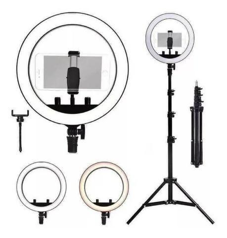 Entrega Grátis!!! Ring Light Foto Make Tripé 2 metros Iluminador Led Com Garantia - Foto 5