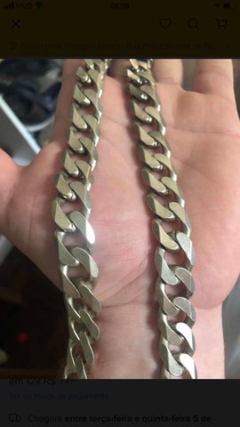 Cordão de prata italiano 170g maciço