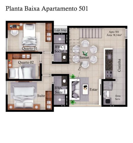 Apartamento de três quartos com cobertura privativa completa - Foto 6