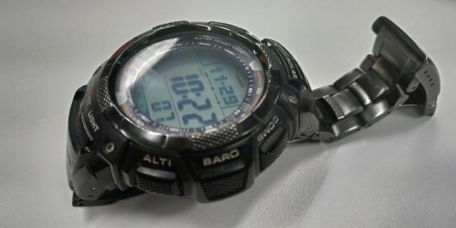 53b686a17de Relógio Casio Pro Trek PRG-80YT Triple Sensor Titânio Preto perfeito ...