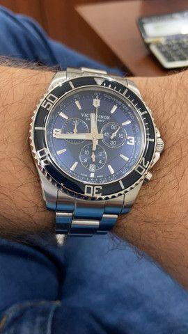 Relógio Victorinox Maverick Cronógrafo Azul - Suíço Quartz - Foto 5