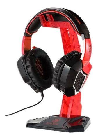 Suporte Onikuma Para Fone De Ouvido Headset Vermelho e Preto - Loja Natan Abreu - Foto 6